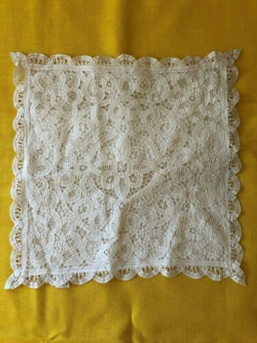 "VINTAGE  HAND MADE LACE 100% COTTON  &  PILLOW COVER 15"" x 15"""