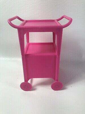 Vintage Barbie 1980 Dream House Pool Pink Serving Tray Cart With Wheels EUC RARE