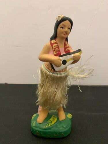 Vintage Chalkware Aloha Hawaiian Hula Girl Holding Guitar Nodder