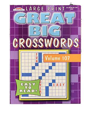 "NEW Large Print Crossword Puzzle Books Volume 107 Paperback 11"" x 8"" Kappa*2"