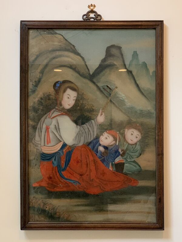 RARE ANTIQUE ASIAN CHINESE REVERSE GLASS PAINTING MAGNIFICENT WOMEN & CHILDREN