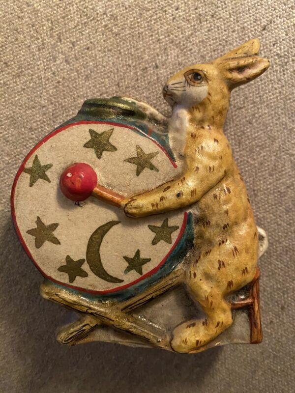 Vaillancourt Folk Art Rabbit Bunny with Drum 1987 Collectible Figure