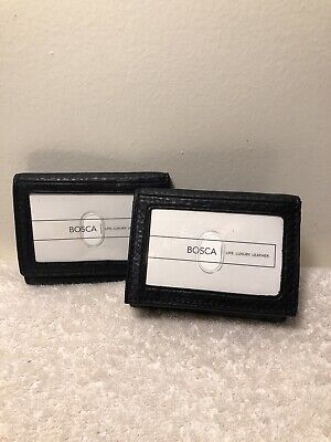 Bosca Tribeca Leather Double ID Trifold Wallet