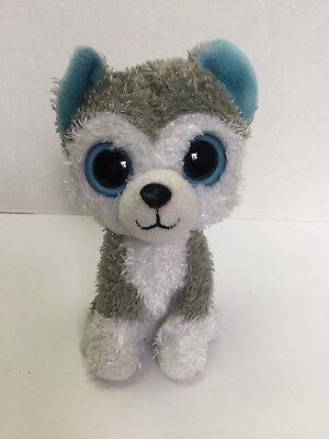 Ty Beanie Boo 6  Slush Dog Husky Solid Blue Eyes 2010 Retired No Hang Tag