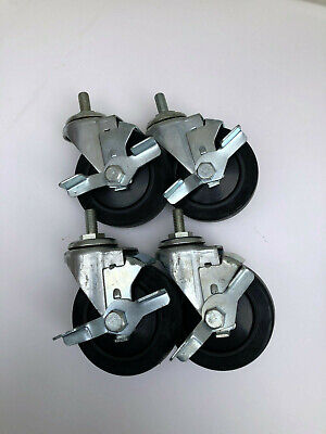4 Threaded Stem Caster With Brakes Set Of 4