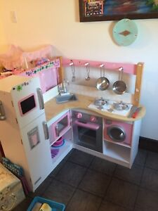 Wooden play kitchen and accessories and side tables