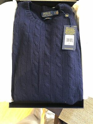 Polo Ralph Lauren Cable Knit Cashmere Sweater Navy, Men's Large ($400 (Polo Ralph Lauren On Line)