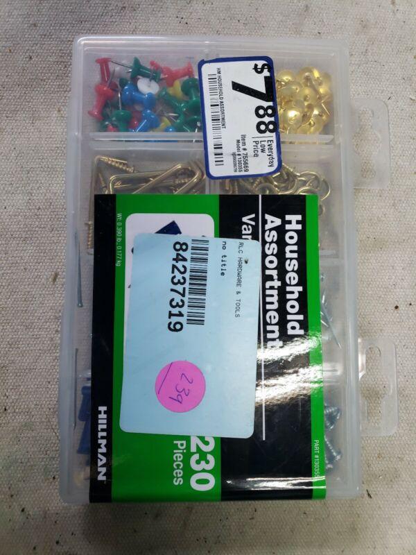 Hillman Household Assortment Kit 230 pieces Pins Screws Nails Hooks 130355