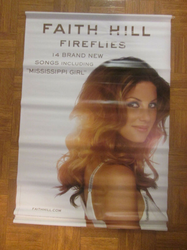 "Faith Hill Fireflies 2005 Vinyl Hanging Promo Poster 24""x34"" Awesome"