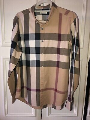 Burberry Mens Long Sleeved Beige Check Shirt Size Large