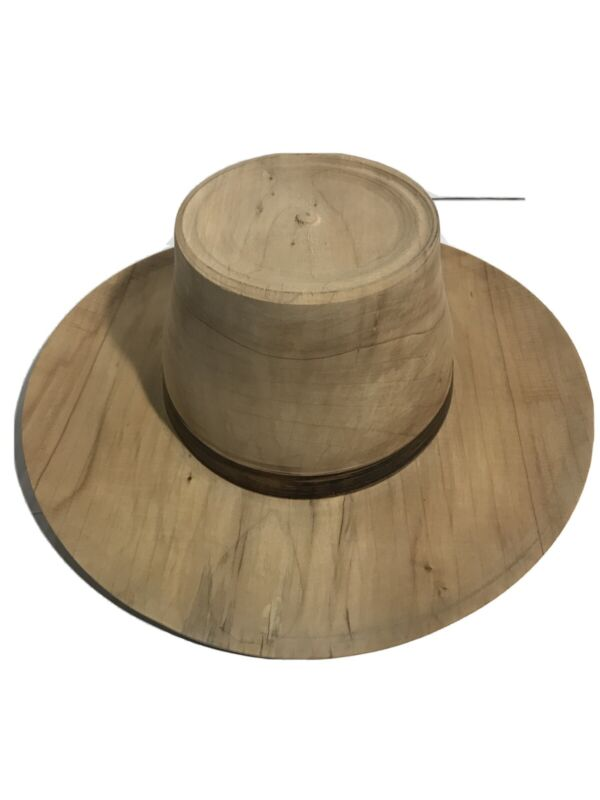 Rare Cowboy style Hand Craved Wooden Hat