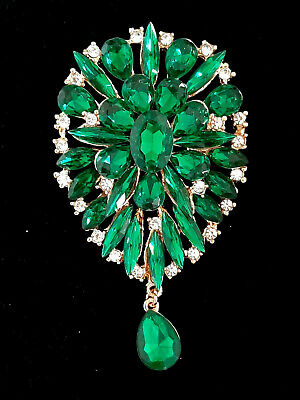 Large Green vintage style Brooch