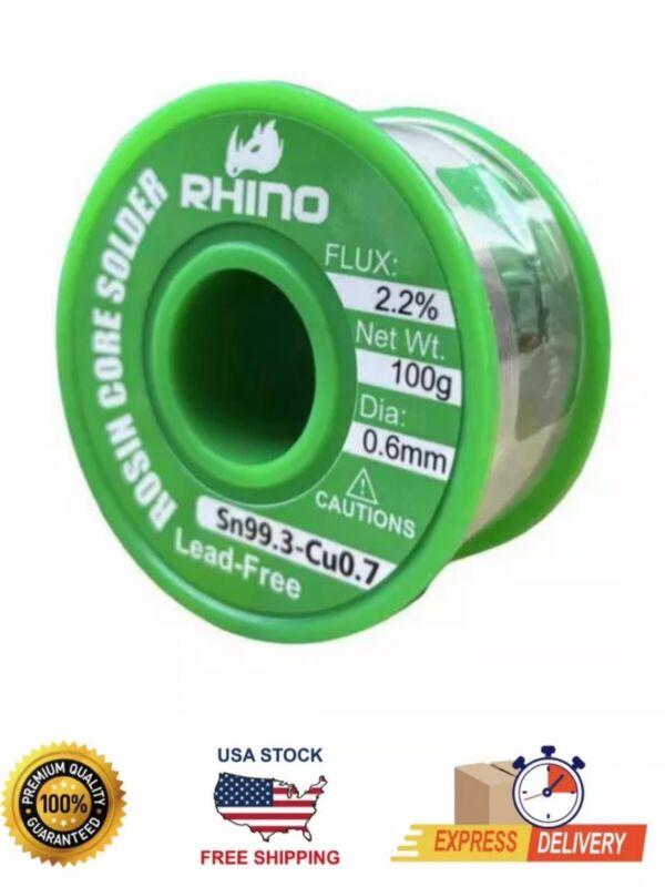 RHINO Lead Free Solder Wire Sn99.3 Cu0.7 11oz 0.6mm 100G
