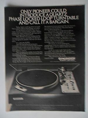 1977 Print Ad Pioneer Turntable Electronics ~ Quartz Phase Locked Loop Turntable