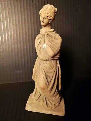 Ancient Hellenistic Greek Terracotta Female Figurine Tanagra Figure