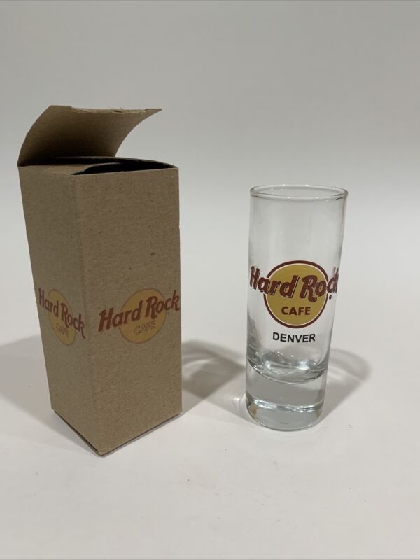 Hard Rock Cafe Double shot Glass Denver With Box