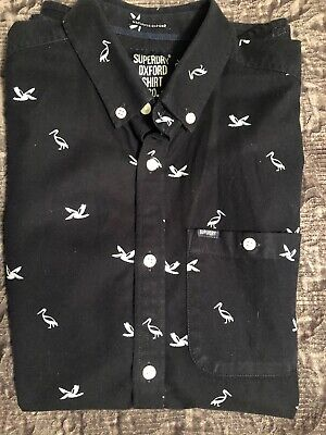 SUPERDRY OXFORD SHIRT CO. BLACK SHORT SLEEVE SHIRT WITH PELICAN GRAPHIC (MEDIUM) for sale  Shipping to Nigeria