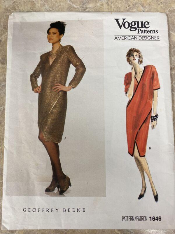 Vogue Pattern Geoffrey Beene 1646 American Designer Mock Wrap Dress UNCUT Sz 16