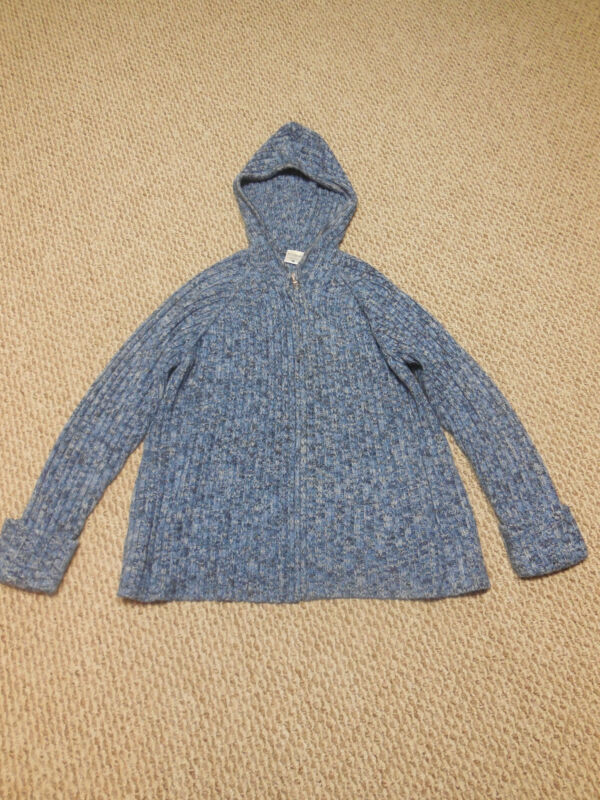 Motherhood Maternity Blue Hooded Sweater Full Zip Size Large