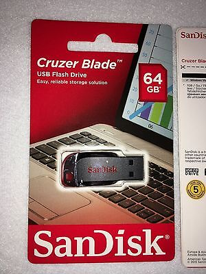 SanDisk Cruzer Blade 64GB USB 2.0 Flash Drive Thumb Drive SDCZ50-064G-B35 SEALED