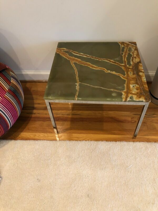 Style of Florence Knoll Italian Onyx Chrome Side Table Mid-century