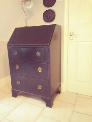 Vintage Antique Black Bureau Drawers Writing Desk
