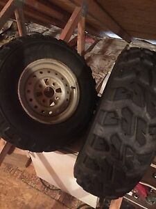 Honda 450 front tires 26-8-12 and 1 rim