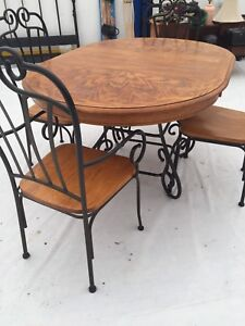 Oak and black iron dining table and chairs