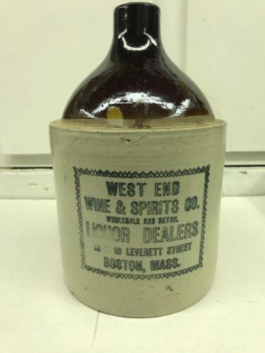 West End Wine & Spirits Co Jug Crock Wholesale Liquor Dealers Whiskey Boston Ma