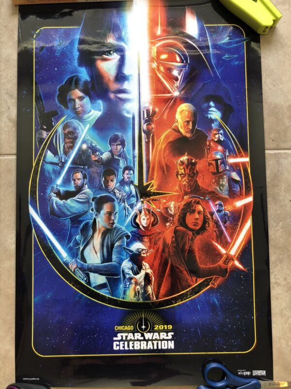 Star Wars Celebration Chicago 2019 Logo Print Poster VIP Light Dark Vader Luke