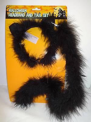 Halloween Costume Cat Kitten Black Kitty Accessorie Headband Ears and Clip on Ta (Cat On Halloween Costume)