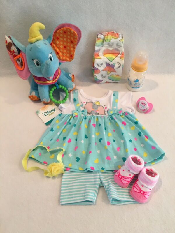 Reborn Baby Doll Disney Dumbo Outfit W/accs-bottle/pacifiet
