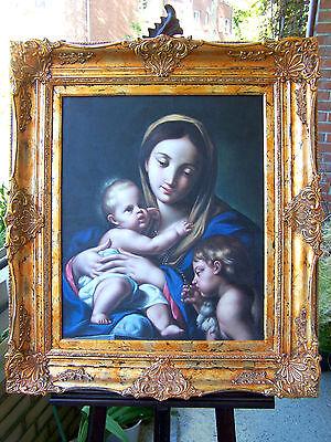 """Öl Gemälde """" Madonna mit Kind und Heiligem Johannes """"  74 cm x 85 cm"""