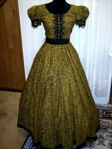 Victorian Day Gown, Deep Gold, with Black Floral, Victorian Lace Trims