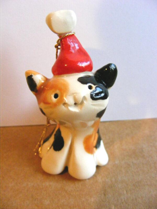 Little Guys Santa Cat Christmas Ornament Miniature Animal Cindy Pacileo Pottery