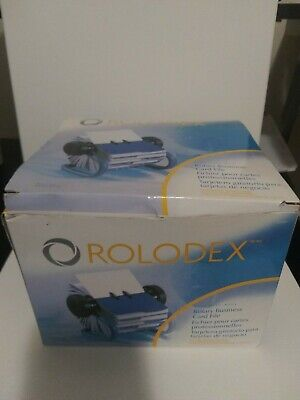 Rolodex Rotary Business Card File Blue 200 Sleeved Cards New Open Box