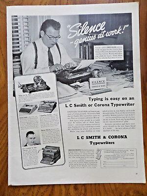 1940 L C Smith & Corona Typewriter Ad Fred Allen Movie TV Theatre Star