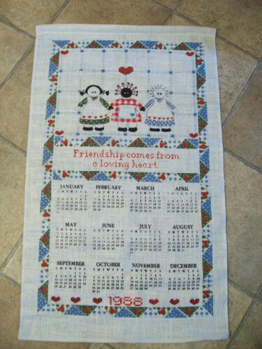 1988 Calendar Kitchen Dish Towel Unused 16 X 27 Americana Friendship