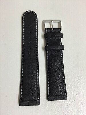 Junghans Original 22mm Black Watch Strap Screw Fitting Style With Steel Buckle