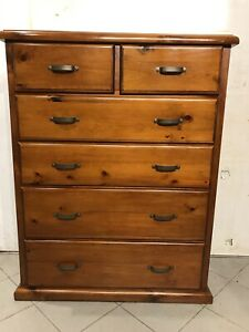 Nearly new rustic style solid wood big chest 6 drawers metal runners