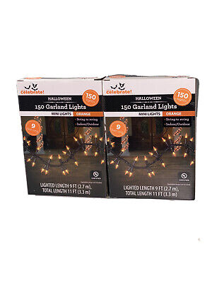 Way To Celebrate 150 Garland Style Orange Mini Lights On Black Wire Halloween X2