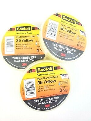Lot Of 3 Rolls 3m 35 Yellow 34 X 66 Ft Vinyl Electrical Phase Tape