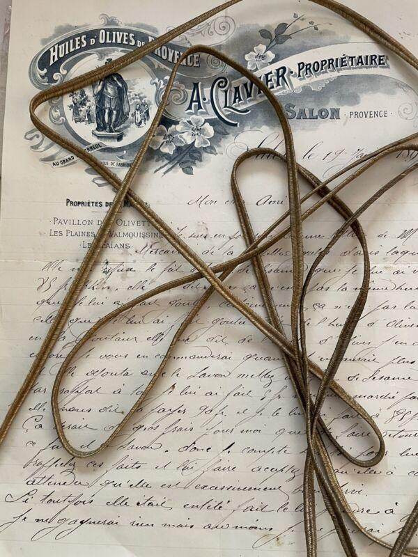 "Vintage Antique French Gold Metallic Soutache Braid Trim 3/16"" Military"