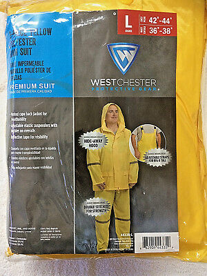 Premium Westchester Protective Gear 3-piece Yellow Polyester Rain Suit Lg 42-44