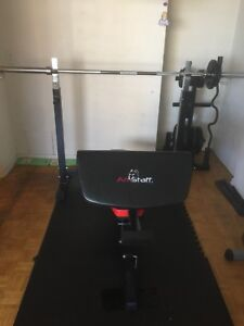 Bench press and arm curler with weights and hex dumbells