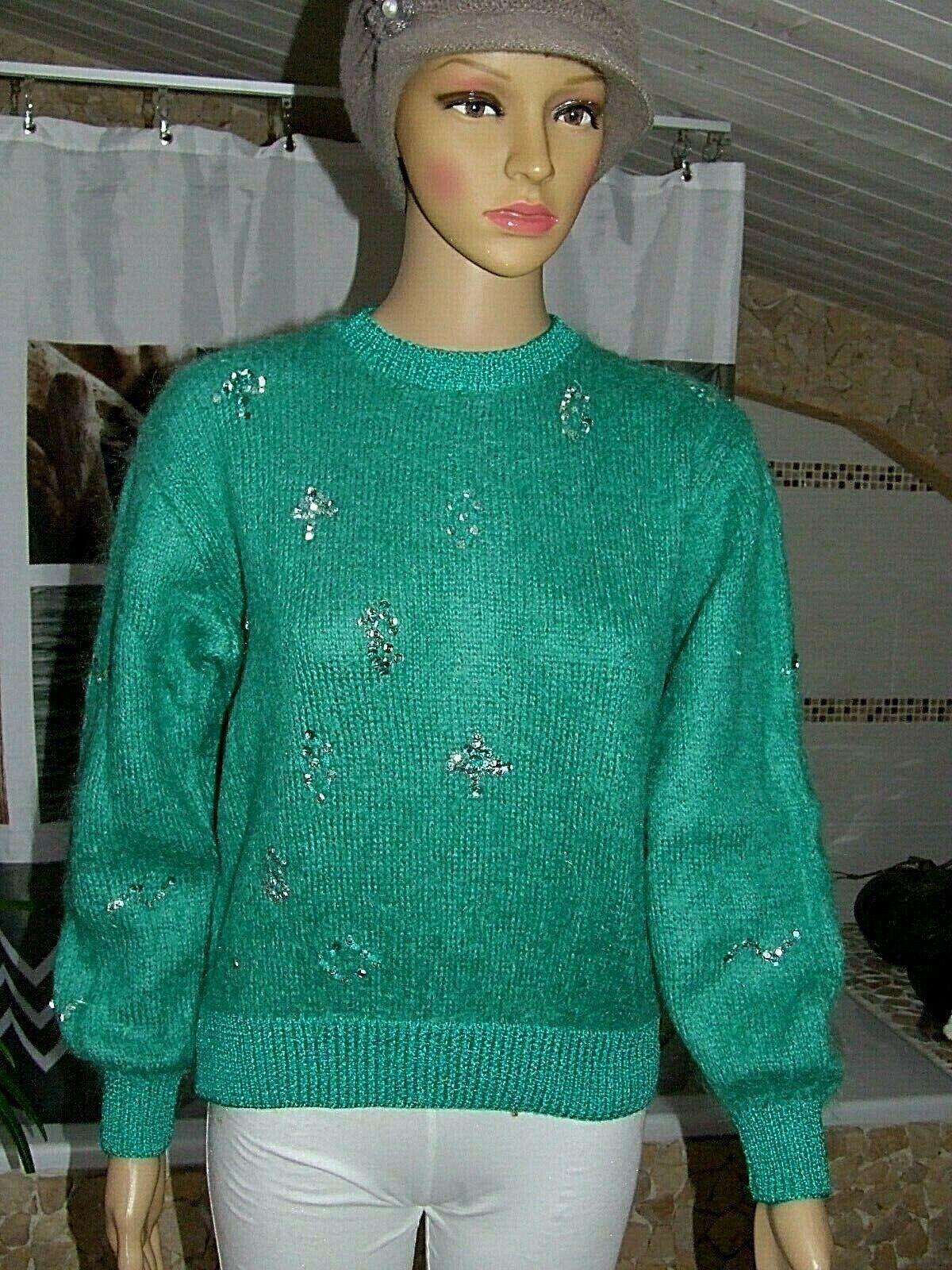 Phildar  superbe pull angora laine mohair  tricoté main  taille 42  parfait état