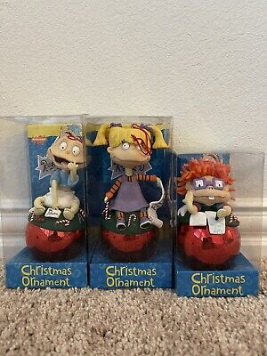 (3) Rugrats Tommy, Angelica Pickles & Chuckie on Ball Christmas Ornaments