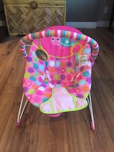 Pink vibrating baby chair