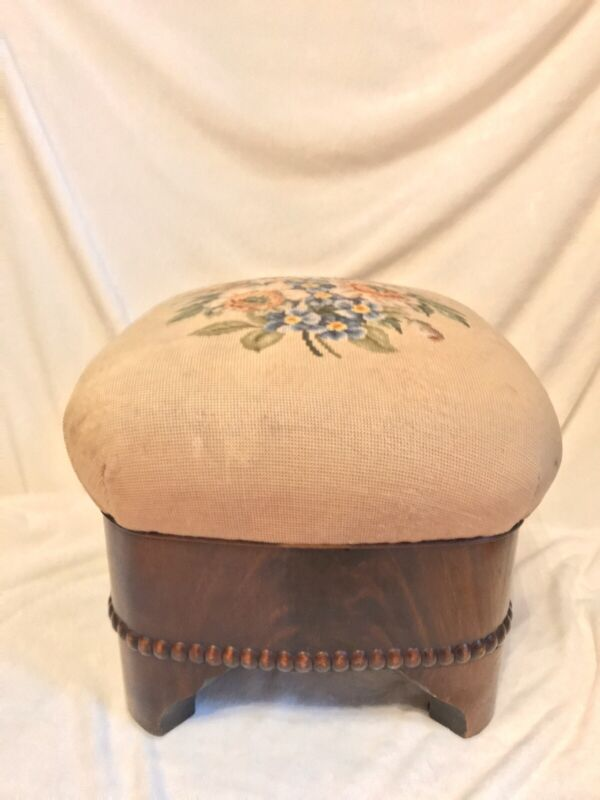 Antique 1880s Flower Needlepoint, Mahogany Wood, Balloon Top, Footstool Bench