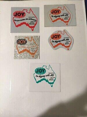Rare lot of 5 different joy mining stickers